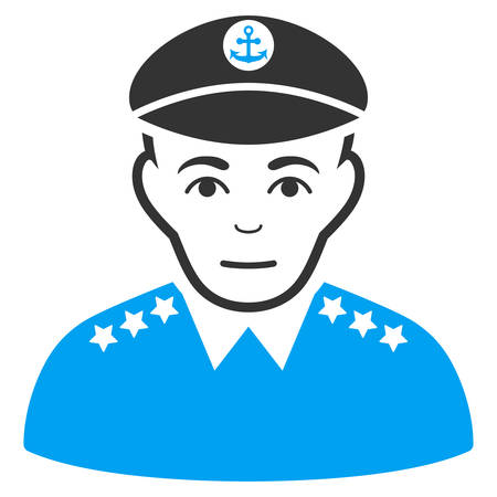 Military Captain vector icon. Flat bicolor pictogram designed with blue and gray. Human face has smiling sentiment.