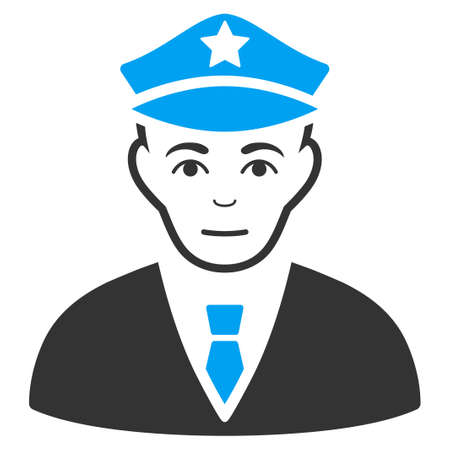 Policeman vector icon. Flat bicolor pictogram designed with blue and gray. Human face has enjoy feeling.