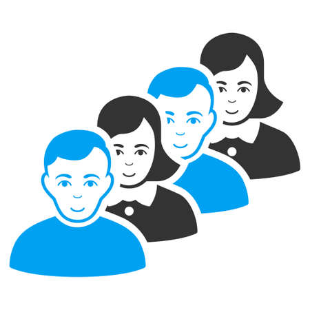 People Queue vector pictograph. Flat bicolor pictogram designed with blue and gray. Person face has glad expression. Illustration