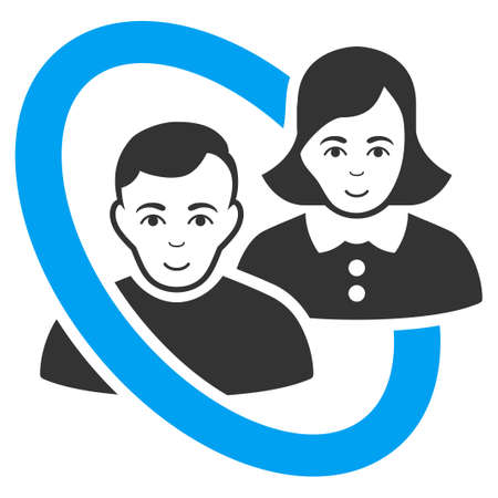 Ringed People Couple vector pictograph. Flat bicolor pictogram designed with blue and gray. Person face has joy emotion.