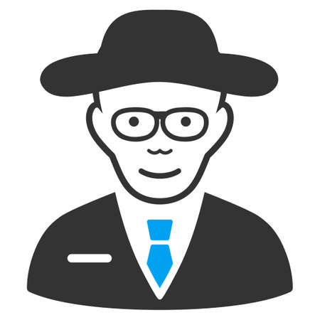 Scientist vector pictograph. Flat bicolor pictogram designed with blue and gray. Person face has cheerful emotions.
