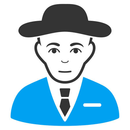 Secret Service Agent vector icon. Flat bicolor pictogram designed with blue and gray. Human face has joyful feeling.