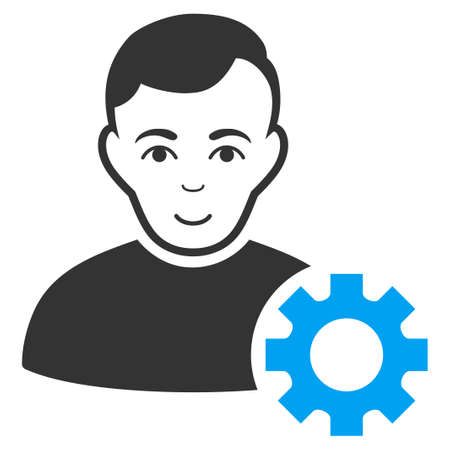 User Options Gear vector icon. Flat bi color pictograph designed with blue and gray. Illustration