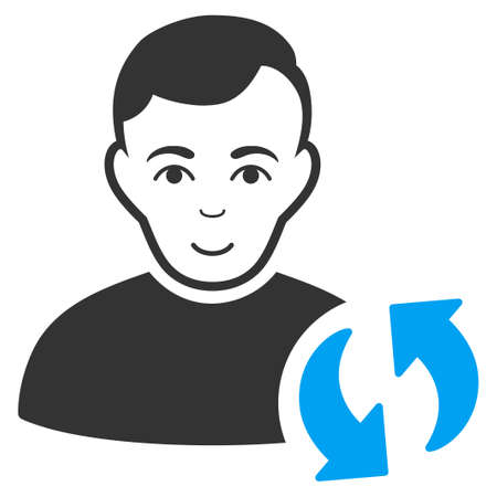 User Update vector pictograph. Flat bi color pictograph designed with blue and gray.