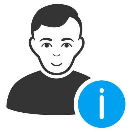 User Info vector pictograph. Flat bicolor pictogram designed with blue and gray. Human face has enjoy feeling.
