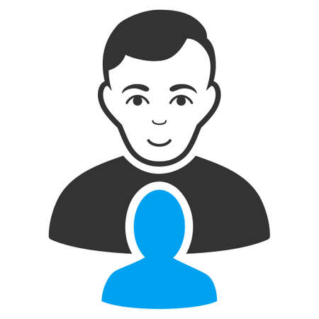 User Partner vector pictograph. Flat bicolor pictogram designed with blue and gray. Person face has joyful expression. Illustration