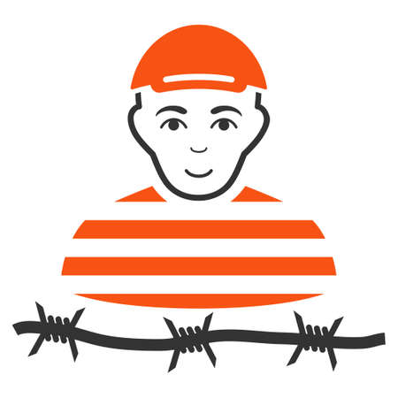 Camp Prisoner vector flat pictograph. Human face has happy emotion. A dude wearing a cap.