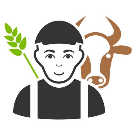 Farmer vector flat pictograph. Illustration