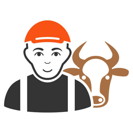 Cow Farmer vector flat icon. Person face has joyful emotions. A boy with a cap. Vettoriali