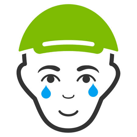 Crying Man Face vector flat pictograph. Person face has positive emotions. A male person wearing a cap.