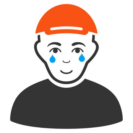 Crying Man vector flat icon. Human face has enjoy emotion. A guy wearing a cap.