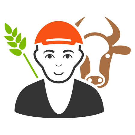 Farmer vector flat icon. Person face has positive emotion. A man wearing a cap. Illustration