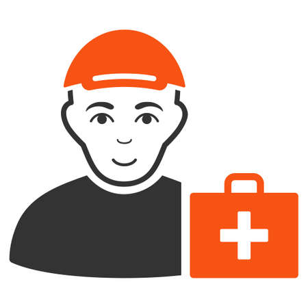 First Aid Man vector flat icon. Person face has enjoy mood. A person with a cap.