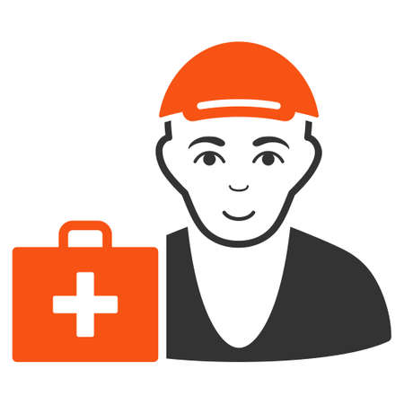 First-Aid Man vector flat icon. Human face has joyful emotions. A male person dressed with a cap.