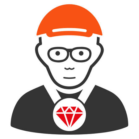 Jeweler vector flat pictograph. Human face has joy mood. A boy dressed with a cap.