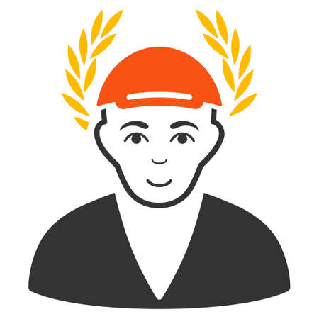 Laureate Man vector flat pictograph. Person face has enjoy mood. A person dressed with a cap. Illustration