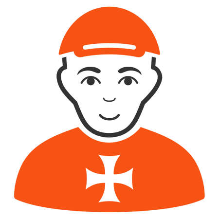 Maltese Cross Awarded Man vector flat pictogram. Human face has cheerful expression. A person wearing a cap.