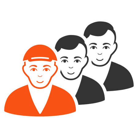 People Queue vector flat icon. Human face has happiness mood. A guy in a cap. Illustration