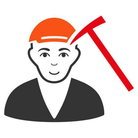 Hammer Victim vector flat pictogram. Human face has smiling emotion. A man wearing a cap. Illustration