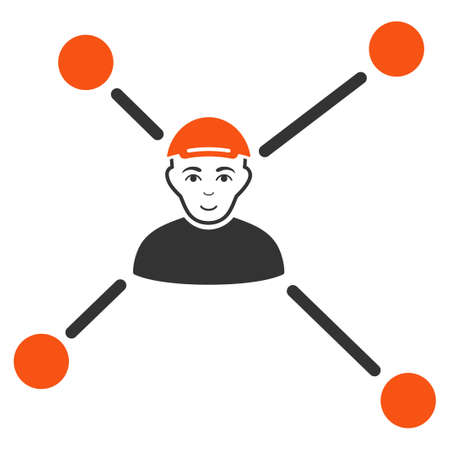 Person Links vector flat icon. Human face has glad emotions. A boy dressed with a cap.