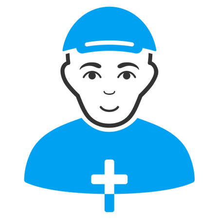 Priest vector flat pictograph. Person face has enjoy feeling. A dude with a cap.