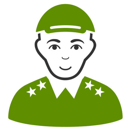 Officer vector flat icon. Person face has cheerful expression. A man with a cap. Illustration