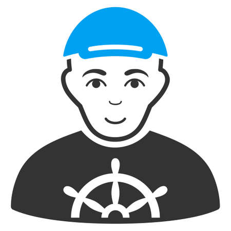 Captain raster flat pictogram. Human face has joy feeling. A man dressed with a cap.