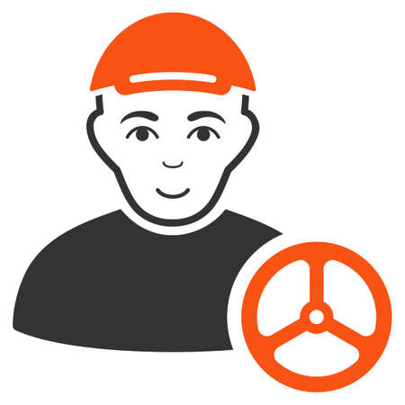 Car Driver raster flat icon. Person face has cheerful emotion. A male person with a cap.