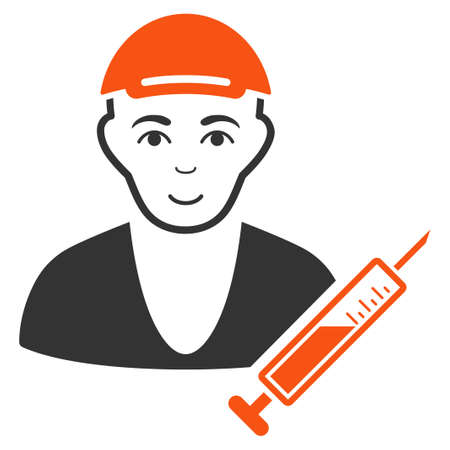 Drug Dealer raster flat icon. Human face has smiling emotions. A male person dressed with a cap.