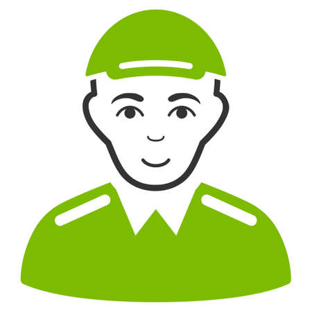 Soldier raster flat icon. Person face has joyful sentiment. A dude wearing a cap.