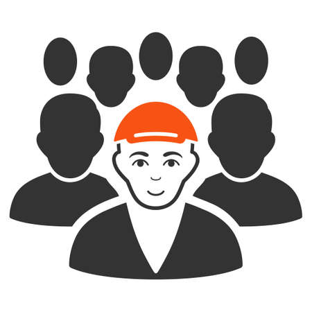 Staff Leader raster flat pictograph. Human face has enjoy emotion. A guy wearing a cap.