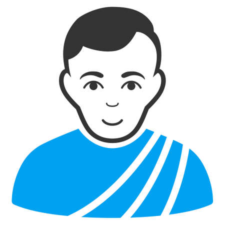 Patrician Citizen raster pictograph. Flat bicolor pictogram designed with blue and gray. Person face has gladness emotion.