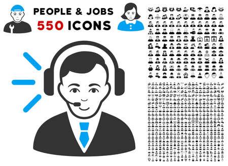 Happy Call Center Operator vector icon with 550 bonus pity and happy user pictographs. Human face has joy emotion. Bonus style is flat black iconic symbols. Illustration