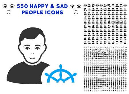 Cheerful Captain vector icon with 550 bonus sad and happy user design elements. Human face has enjoy sentiment. Bonus style is flat black iconic symbols. Çizim