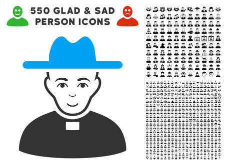 Smiling Catholic Priest vector icon with 550 bonus pity and glad people clip art. Person face has smiling emotions. Bonus style is flat black iconic symbols.