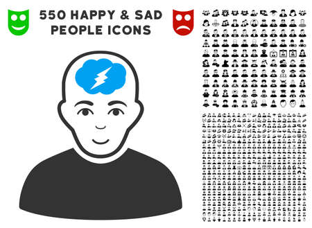 Glad Clever Boy vector icon with 550 bonus pity and happy user icons. Person face has happiness feeling. Bonus style is flat black iconic symbols.