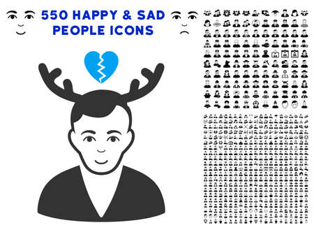 Positive Deceived Horned Husband vector icon with 550 bonus sad and happy person design elements. Human face has joy sentiment. Bonus style is flat black iconic symbols.