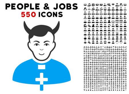 Gladness Devil Priest vector pictograph with 550 bonus pity and glad person symbols. Human face has joy expression. Bonus style is flat black iconic symbols. Illustration