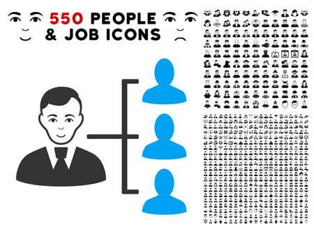 Joyful Distribution Manager vector icon with 550 bonus sad and glad user symbols. Human face has joy mood. Bonus style is flat black iconic symbols. Illustration