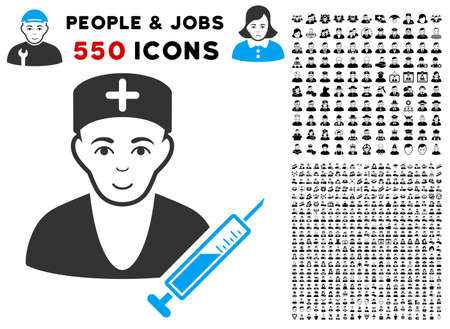 Glad Doctor vector icon with 550 bonus pity and happy people symbols. Person face has enjoy mood. Bonus style is flat black iconic symbols. Illustration