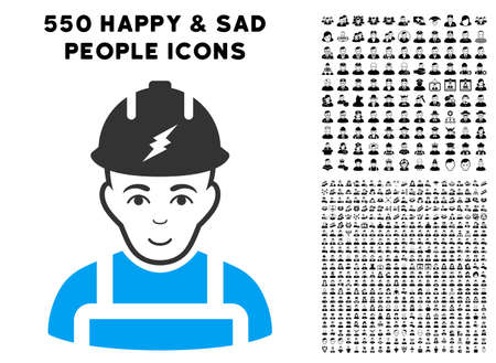 Joy Electrician vector pictogram with 550 bonus pity and glad person pictographs. Person face has enjoy sentiment. Bonus style is flat black iconic symbols.