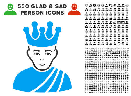 Gladness Emperor vector pictograph with 550 bonus pitiful and glad user images. Person face has joy sentiment. Bonus style is flat black iconic symbols.