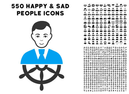 Joy Captain vector pictograph with 550 bonus pitiful and happy person design elements. Human face has joy sentiment. Bonus style is flat black iconic symbols.