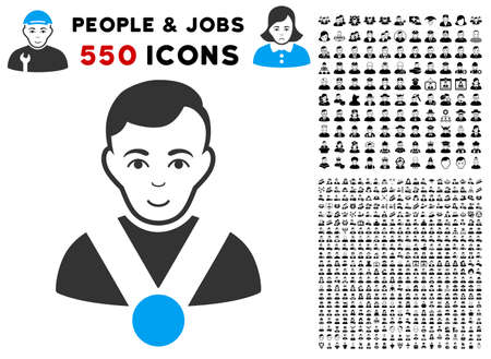 Joyful Champion vector pictograph with 550 bonus pitiful and glad user pictographs. Person face has glad expression. Bonus style is flat black iconic symbols.