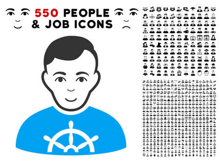 Glad Captain vector pictogram with 550 bonus sad and glad jobs design elements. Person face has positive emotions. Bonus style is flat black iconic symbols. Ilustração