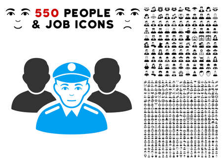 Joy Army Team vector icon with 550 bonus pitiful and happy user pictographs. Human face has enjoy sentiment. Bonus style is flat black iconic symbols.