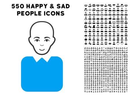 Cheerful Bald Bureaucrat vector icon with 550 bonus pity and happy men icons. Human face has smiling mood. Bonus style is flat black iconic symbols. Illustration