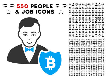 Glad Bitcoin Protector vector icon with 550 bonus pity and glad men design elements. Person face has joyful mood. Bonus style is flat black iconic symbols.