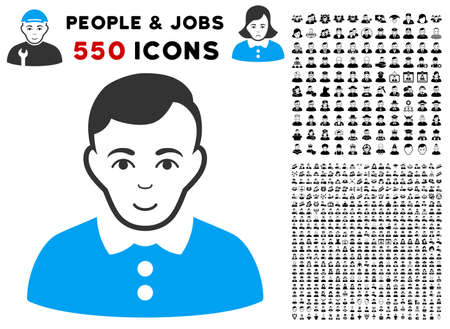 Glad boy vector pictograph with 550 bonus pity and happy men pictures. Human face has happy feeling. Bonus style is flat black iconic symbols. Ilustração