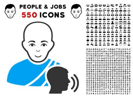 Gladness Buddhist confession vector pictograph with 550 bonus sad and happy user graphic icons. Person face has glad emotion. Bonus style is flat black iconic symbols. 일러스트